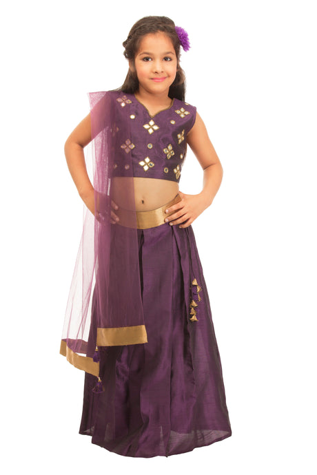 Girls Purple Lehenga With Mirror Work