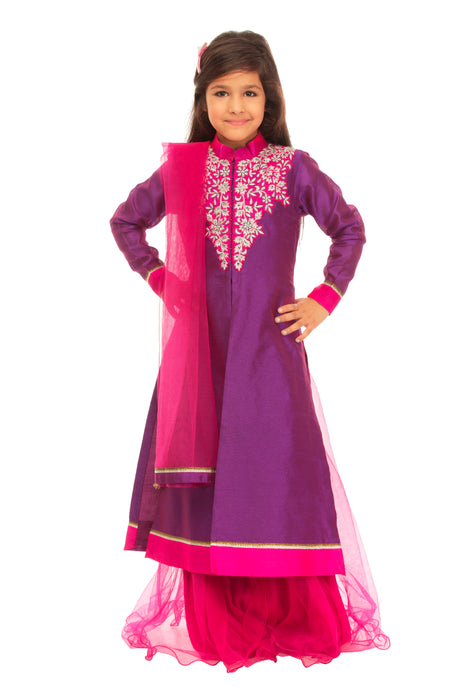 Girls Purple Pink Jacket Lehenga Set