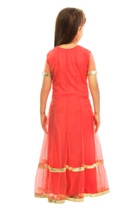 Girls Red Anarkali Suit With Churidaar