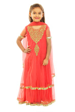 Load image into Gallery viewer, Girls Red Anarkali Suit With Churidaar