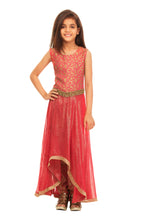 Load image into Gallery viewer, Girls Red Asymetrical Kurta With Trouser