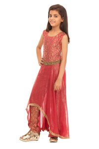 Girls Red Asymetrical Kurta With Trouser