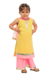 Girls Yellow And Pink Crepe Suit