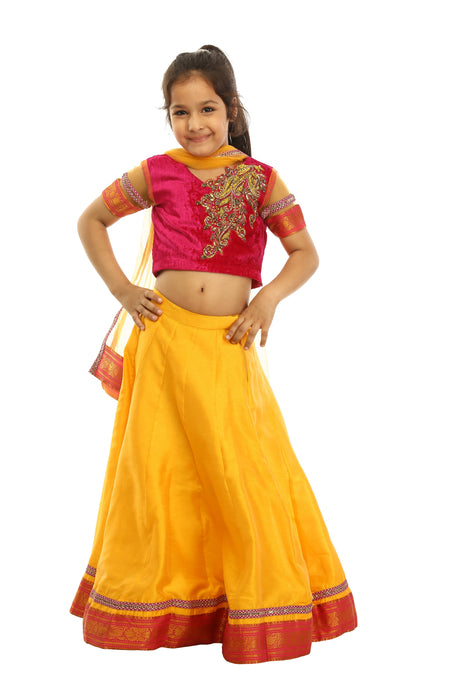 Girls Yellow And Red Lehenga