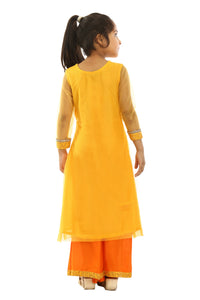 Girls Yellow Net Suit With Orange Plazzo in USA