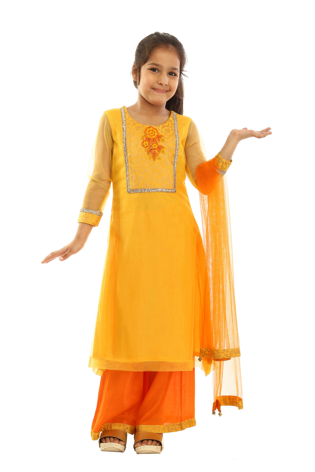 Girls Yellow Net Suit With Orange Plazzo