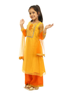 Girls Yellow Net Suit With Orange Plazzo in US