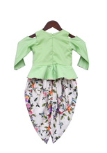 Load image into Gallery viewer, Girls Green Mirror Work Peplum With Printed Dhoti