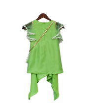 Load image into Gallery viewer, Girls Green Bottie Net Kurti With Dhoti