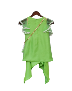 Girls Green Bottie Net Kurti With Dhoti