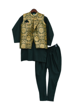 Load image into Gallery viewer, Boys Green Brocade Nehru Jacket With Kurta & Churidar