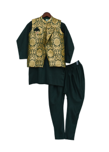 Boys Green Brocade Nehru Jacket With Kurta & Churidar