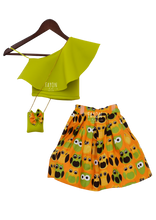 Load image into Gallery viewer, Girls Green Crop Top With Printed Skirt