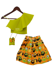 Girls Green Crop Top With Printed Skirt
