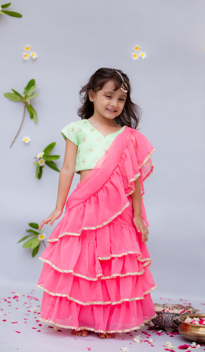 Girls Green Embroidery Choli With Pink Saree