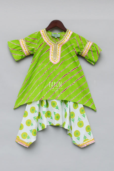 Girls Green Lehariya Kurti With Dhoti