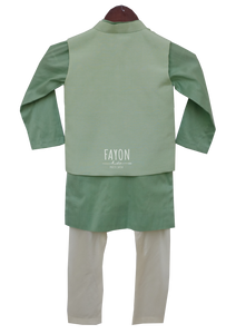 Boys Green Linen Nehru Jacket