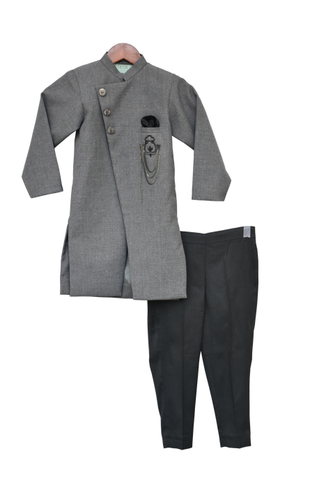 Boys Grey Ajkan With Pant
