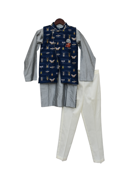 Boys Grey Kurta With Printed Nehru Jacket Set