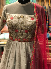 Load image into Gallery viewer, Grey Off Shoulder Embroidery Style Anarkali dress for womens