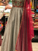 Load image into Gallery viewer, Grey Off Shoulder Embroidery Style Anarkali