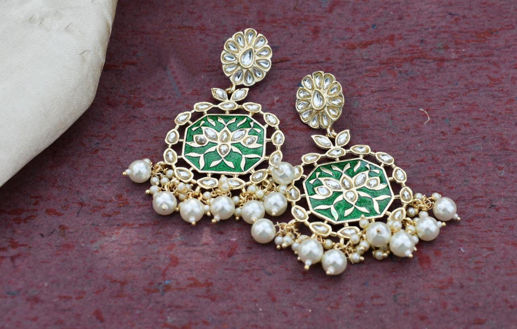 Buy Green Enamel with pearls Indian Party Hannah Earrings: Perfect Panache