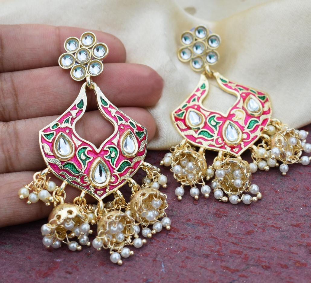 Buy Pink Meenakari multi jhumki Indian Party Helena Earrings: Perfect Panache
