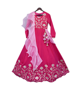 Girls Hot Pink Gota Anarkali