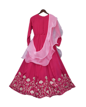 Load image into Gallery viewer, Girls Hot Pink Gota Anarkali