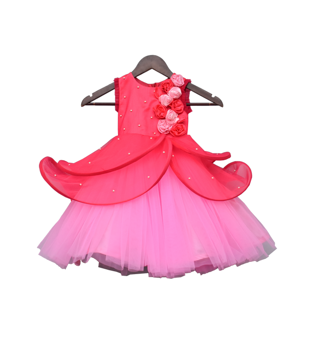 Girls Hot Pink & Baby Pink & Drape Gown