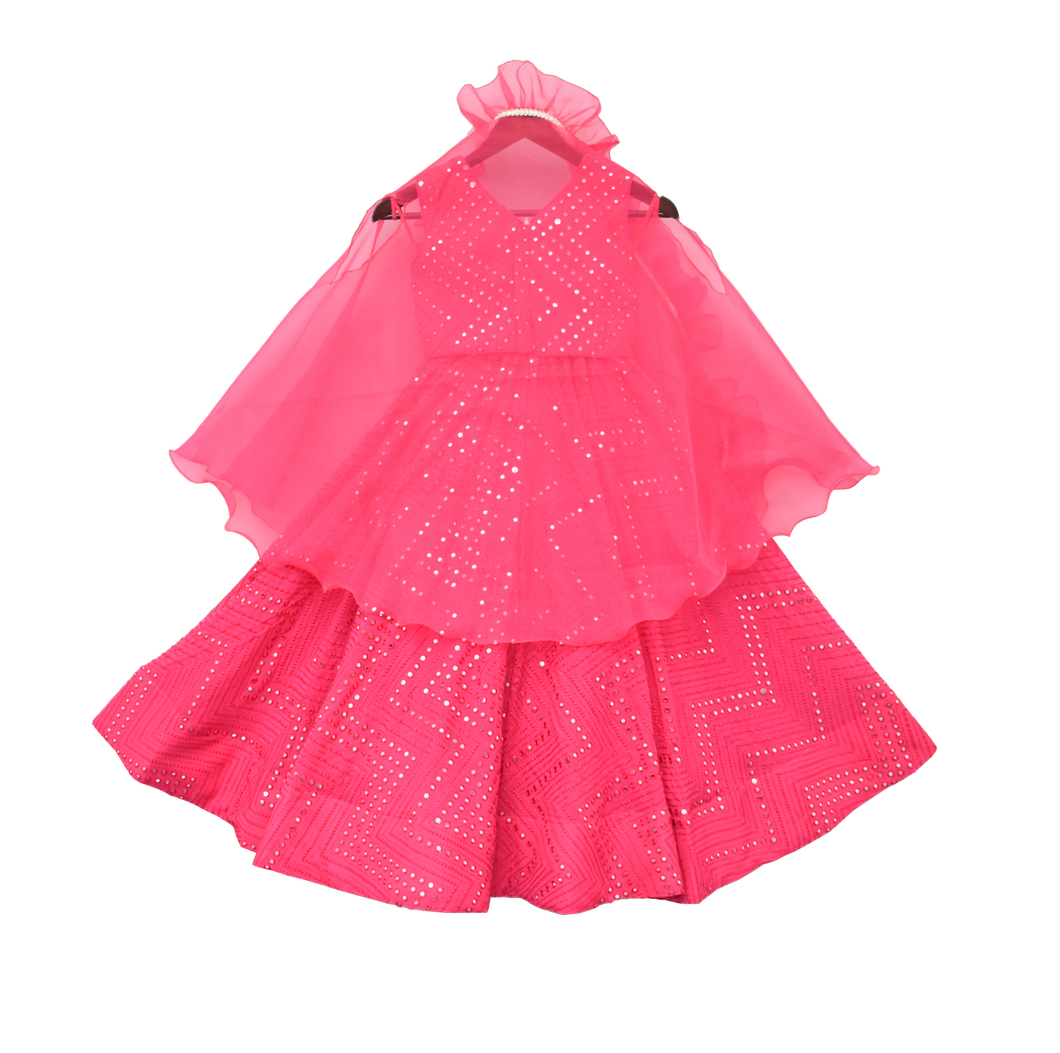 Girls Hot Pink Embroidery Choli With Lehenga & Cape
