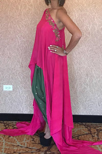 Hot Pink Cape With Olive Green Dhoti