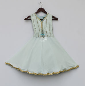 Girls Ice Blue Anarkali Dress With Jacket