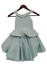 Load image into Gallery viewer, Girls Ice Blue Brocade Peplum High Low Gown