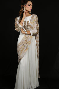 Indo Western Saree Gown With Weaved Dupatta Online in USA