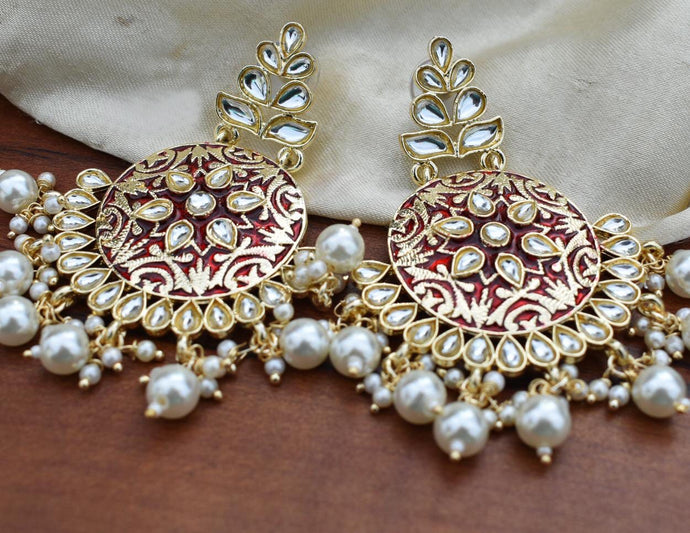 Buy Enamel Red Meenakari Indian Party Irena Earrings: Perfect Panache