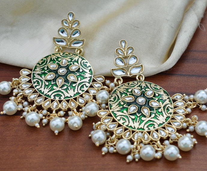Buy Enamel Emerald Meenakari Indian Party Irene Earrings: Perfect Panache
