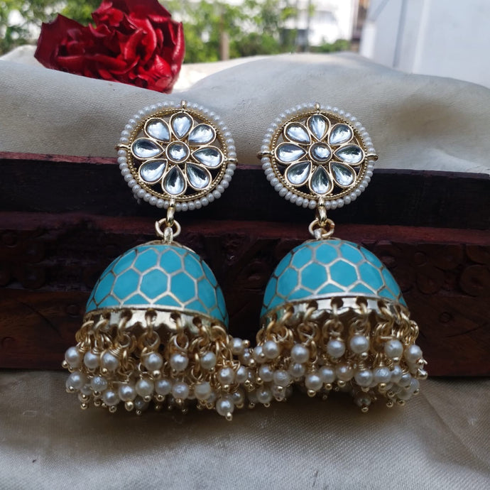 Buy Light Blue Enamel jhumki Indian Party Juhi Earrings: Perfect Panache