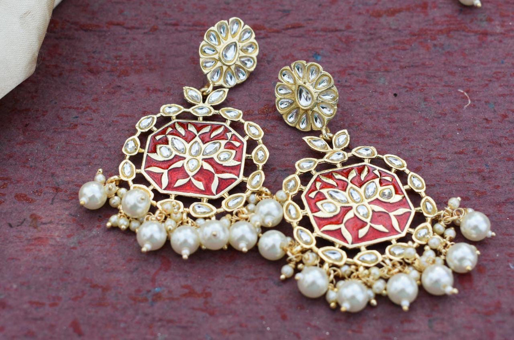 Buy Red Enamel with pearls Indian Party Keerti Earrings: Perfect Panache