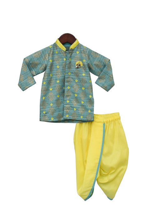 Boys Khadi Printed Kurta With Yellow Dhoti