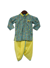 Load image into Gallery viewer, Boys Khadi Printed Kurta With Yellow Dhoti