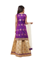 Load image into Gallery viewer, Girls Gold Lehenga With Brocade Blouse And Hand Embroidered Motif