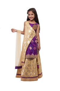 Girls Gold Lehenga With Brocade Blouse And Hand Embroidered Motif