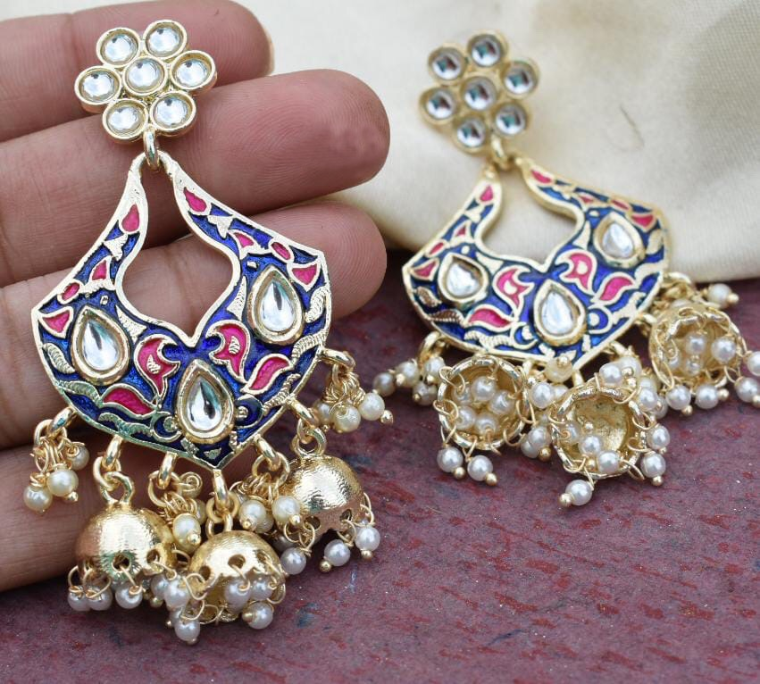 Buy Blue Meenakari multi jhumki Indian Party Laila Earrings: Perfect Panache