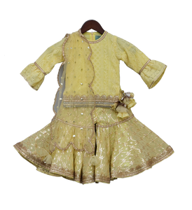 Girls Lemon Yellow Embroidery Kurti With Sharara