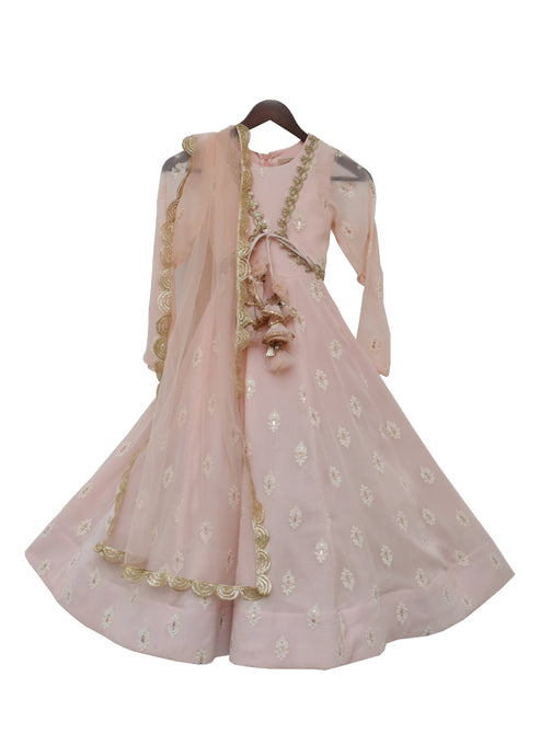 Girls Light Peach Georgette Anarkali