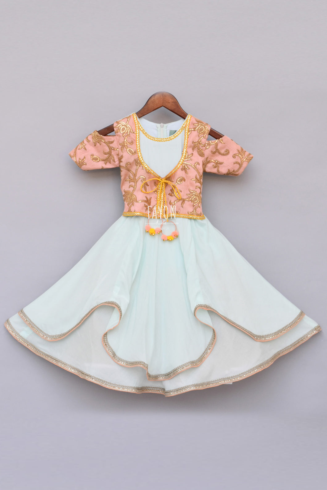 Girls Light Blue Anarkali Dress With Attached Embroidery Jacket