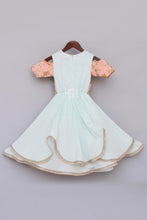 Load image into Gallery viewer, Girls Light Blue Anarkali Dress With Attached Embroidery Jacket