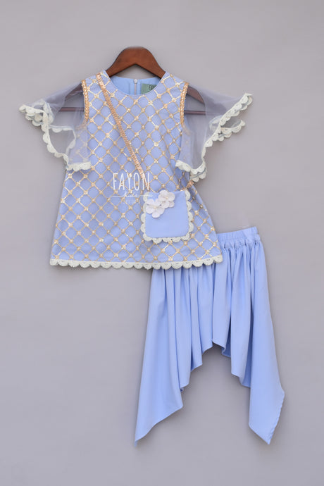 Girls Light Blue Bottie Net Kurti With Dhoti in New York