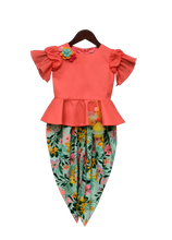 Load image into Gallery viewer, Girls Light Peach Peplum Top With Printed Dhoti